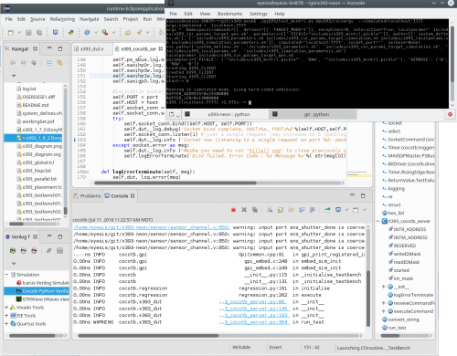 Screenshot of the simulation with client (black console) and server (in Eclipse IDE)